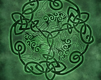 Hasty Hare Celtic Hare Triskele Knotwork -  Pagan Wiccan Print - Brigid Ashwood