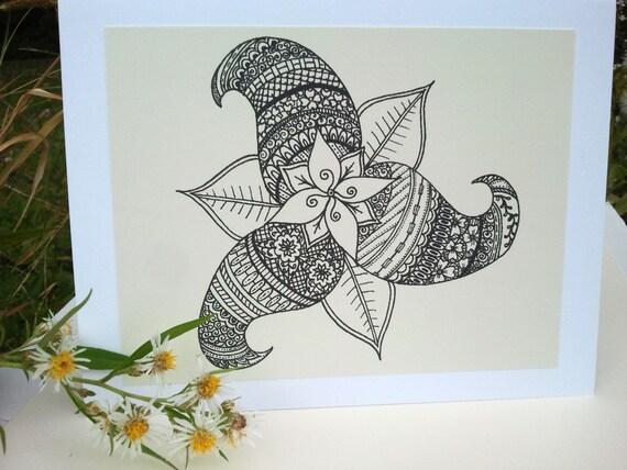 Pinwheel Greeting Card Henna Flower Illustration Mehndi Art Print Love Floral Design Handmade Happiness Symbolism