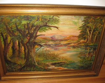 "ORIGINAL OIL PAINTING Signed Oil On Board Large Antique Painting In Antique Frame 36"" X 26"""