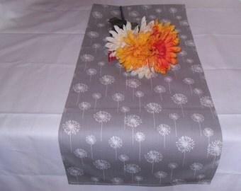 13 x 36, Gray/White Dandelion Table Runner, Home Decor, Chic