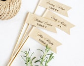 "DIY Escort Card Flags - 1 x 3"" Flags - Text Editable Template, Wedding Favor Flags, INSTANT Digital Download, Thank You Tag"