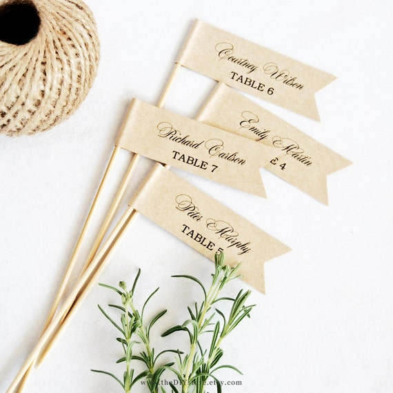"""DIY Escort Card Flags - 1 x 3"""" Flags - Text Editable Template, Wedding Favor Flags, INSTANT Digital Download, Thank You Tag"""