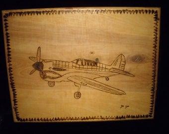 P 40 Flying Tiger P 40 burnt wood art burnt wood P 40