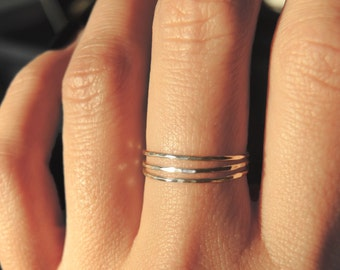 3 sterling silver teeny tiny delicate stacking rings / Ultra thin stacking rings/ Everyday jewelry