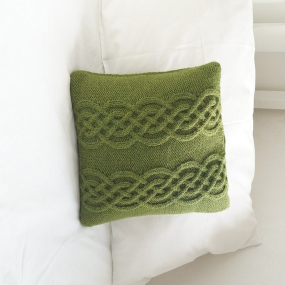 Knit Throw Pillow Cover Pattern : Knitted pillow cover Hand Knit Pillow Sham Cable Knit Wool