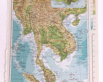Vintage South-East Asia map - Large Map of South East Asia - Thailand, Cambodia, Vietnam - travel souvenir