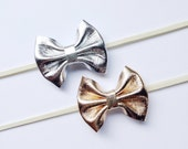 Leather Bow Set - Metallic Gold Leather Bow and Silver Leather Bow on Elastics or Alligator Clips - Tiny Bow Size
