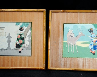 Pair of Asian Paper Pictures on Wood Veneer with Bamboo Frames