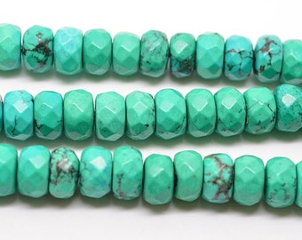 """16""""  8mm  Green   Turquoise    Faceted    Rondelles   Beads"""