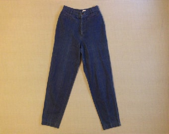 1980's, dark denim, trouser jeans, with dropped yoke, by Calvin Klein, Women size 8