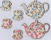 SET OF 2 Luxury Wooden Handmade  Teapot and Teacup Magnetic Needle Keep Needle Minder for Cross Stitch, Needlework and Embroidery