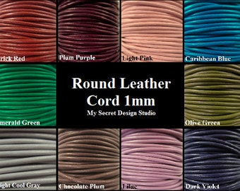 12feet/4yards 1mm Round Leather Cord-You Pick The Color You Want from 20 Colors