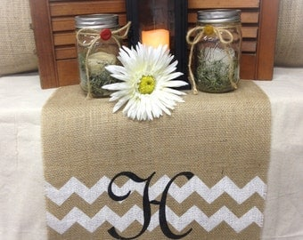 "Burlap Table Runner 12"", 14"" or 15"" wide with monogram & chevron"