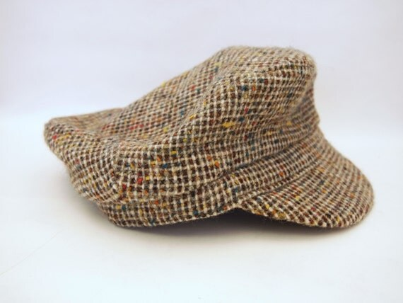 Vintage 60s-70s Norm Thompson Donegal Tweed Hat Pure Wool Cap Newsboy Cap Hand Tailored by David Hanna & Sons Greek Fisherman Irish Hat