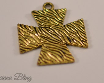Gold Cross Charms 12 pieces 34mm Antique Gold Finish, large gold cross chrarms, large cross with pattern, Zebra pattern cross 17-1-G