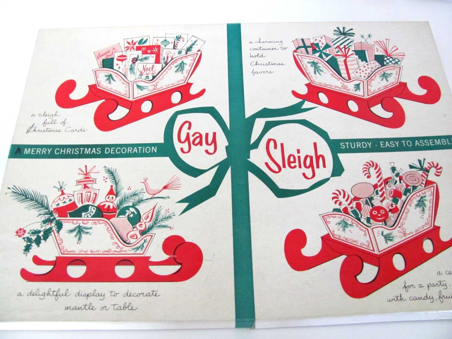 Vintage christmas sleigh 1960 39 s christmas by thirstyowlvintage for 1960s decoration