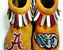 Custom Painted Alabama Crimson Tide Baby Moccasins Roll Tide