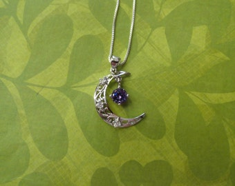Crescent moon crystal amethyst drop sterling silver pendant
