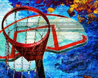 Unique Basketball Art Print, Basketball Decor, Sports Decor, Colorful Art Print, Dorm Room Decor, Basketball Print, Photo Print, Wall Decor