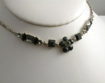 Simple Black and Gray Rhinestone Necklace