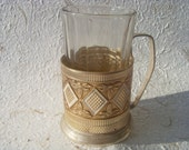 Soviet Vintage Glass With a Faceted Glass Holder Made in USSR in 1970s.