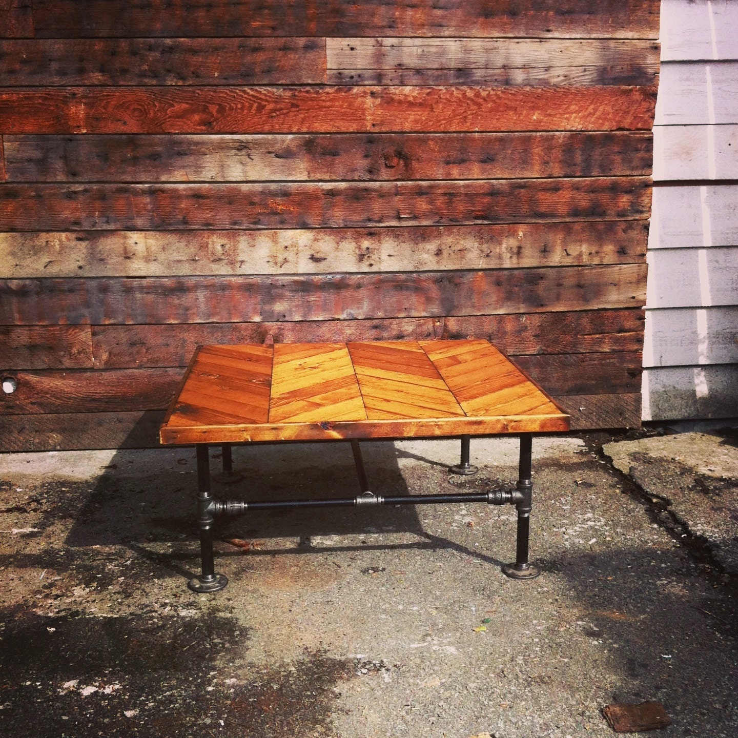 Herringbone Coffee Table/ Dining Table With Cast-Iron Pipe