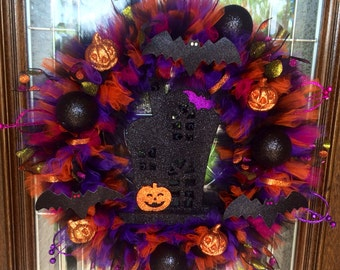 Haunted House With Lights Halloween Wreath