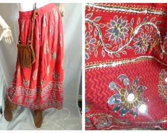 50% off Vintage Red Boho Gypsy Hippie Skirt Floral & Paisley Print Size M-L
