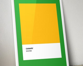 """Modern Classics: """"Norwich City"""" A4 Football Print in yellow, green and white"""