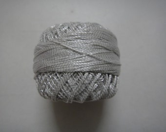 White with Silver Lurex - 20 gm Lurex Cotton Yarn / Thread for Crochet / Embroidery / Knitting