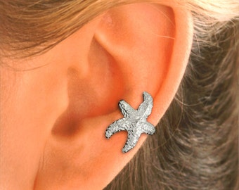 PAIR- Star Fish Ear Cuff - Ear Wrap handmade in Sterling Silver   #61-SS-PR