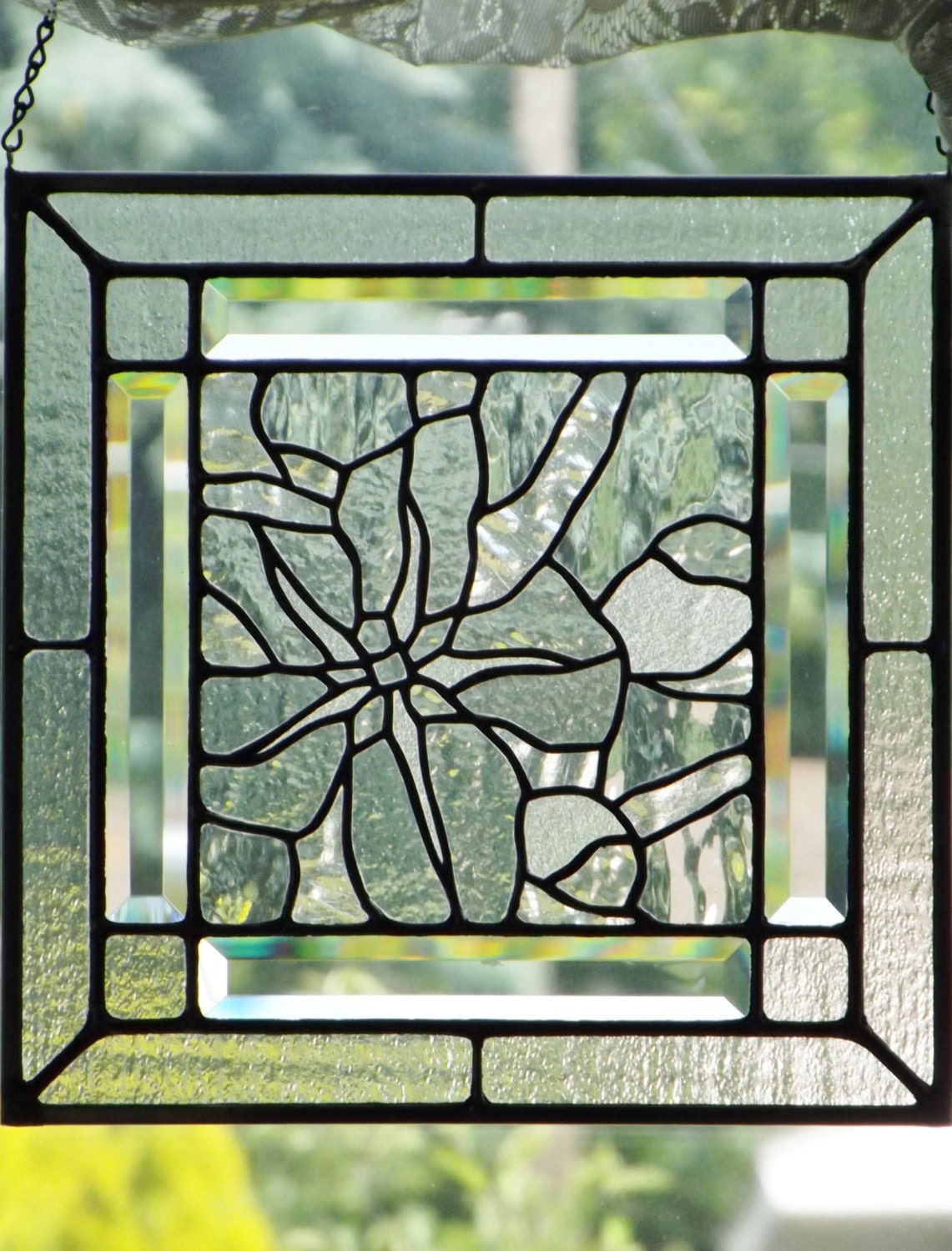 Stained glass panel clear textured glass flower apple blossom for Textured glass panels