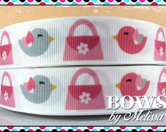 "7/8"" Bird Ribbon 5 Yards"