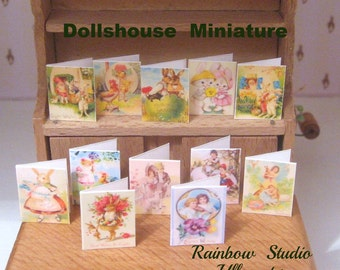 easter dollhouse victorian inspired  cards x 12 set 2 lakeland artist new