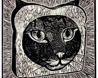 Cat Breading Linocut Print