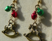 Antique Gold Rocking Horse with Red and Green bell Earrings - Christmas - Winter - hand made
