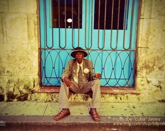 "Fine Art Photo - Title: ""Havana"" - billi j miller photography - havana, cuba, blue, colourful, vibrant, old man"