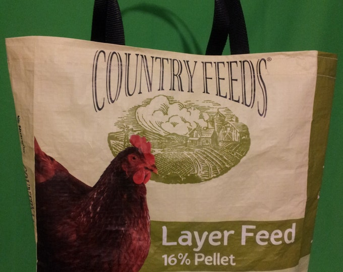 Recycled Feed Bag Tote, reusable tote bag, grocery tote, recycled shopping bags, reusable grocery bag,  Nutrena Layer Pellets New Green