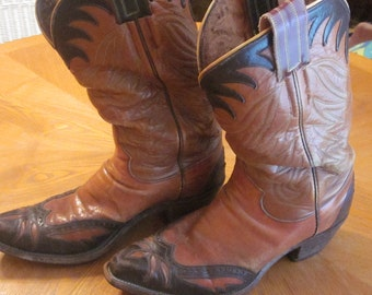Vintage Hyer Men's Leather Western Cowboy Boots Pre-Used Two-Tone