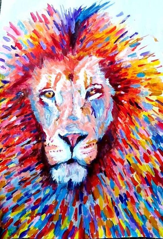 Souvent coloré Lion abstrait Limited Edition Fine Art Print peinture ZF37