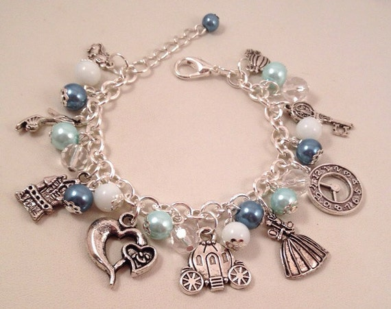 disney cinderella inspired charm bracelet blue by
