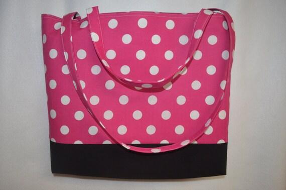 Large Pink Polka Dot Beach Bag/ Tote Bag/ Diaper Bag/
