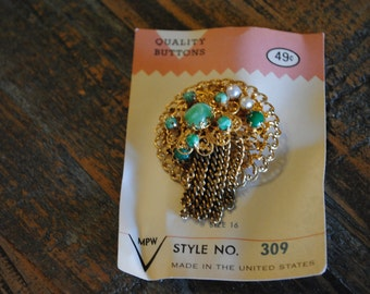 Pearl and Green Bead Brooch