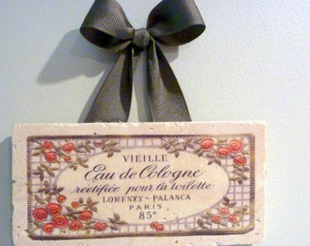 Stone 3x6  marble subway tile sign - Paris  - Vintage French Advertising - French decor - gift for her