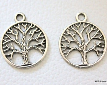 2 x Tree Pendant Silver Tone Charms