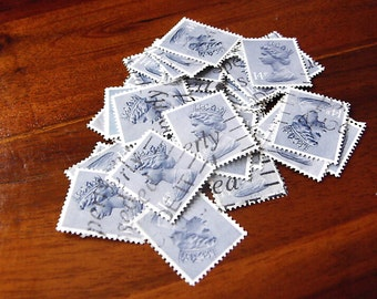 39  British Decimal Stamps (Blue/Grey) for your artwork, collage and card making.