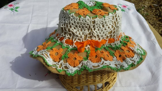Pastoral Floral Lacey Hat Handmade Orange White and Green Burlap and  Cotton Double Gardening Hat #sophieladydeparis