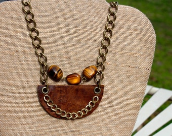 Tiger's Eye and Leather Bib