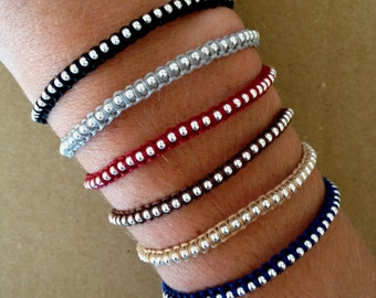 Ball Chain Macrame Friendship Bracelet - Colorful Bracelet, Adjustable Bracelet