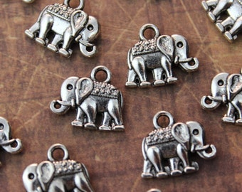 10 Tiny Elephant Charms Elephant Pendants Antiqued Silver Double Sided 10 x 14mm